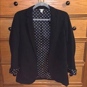 Super cute blazer with unique polka dot lining!!